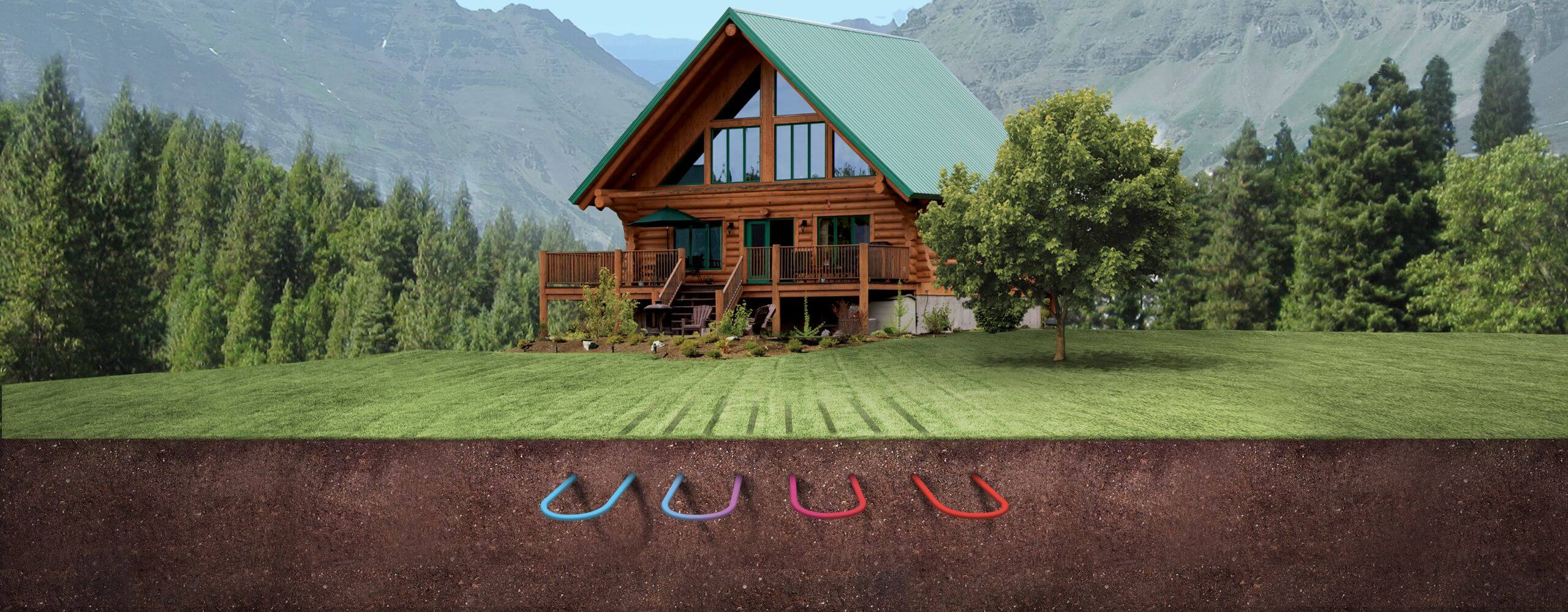 Log home with underground loop exposed showing heat exchange